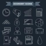 Sistema blanco y negro del icono de la economía Foto de archivo libre de regalías