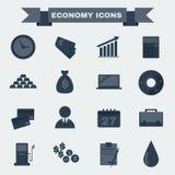 Sistema blanco y negro del icono de la economía Imagen de archivo libre de regalías