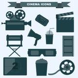 Sistema blanco y negro del icono del cine stock de ilustración