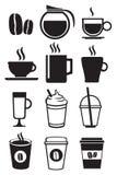 Sistema blanco y negro del icono del vector de las bebidas del café Imagenes de archivo