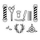 Sistema blanco y negro del vector de las herramientas para la peluquería de caballeros Imagenes de archivo