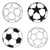 Sistema blanco y negro plano de la estrella del balón de fútbol Imagen de archivo