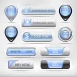 Sistema brillante azul del botón de los elementos del web. Imágenes de archivo libres de regalías