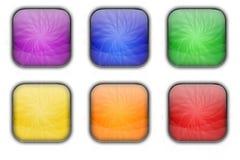 Sistema brillante de cristal cuadrado colorido del botón del icono del web Imagen de archivo