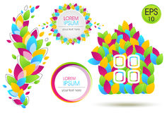 Sistema brillante de Eco de las hojas coloridas Colección del fondo Casa del vector de las hojas coloreadas Foto de archivo