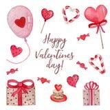 Sistema brillante de la acuarela de las cosas lindas para el día de tarjeta del día de San Valentín stock de ilustración