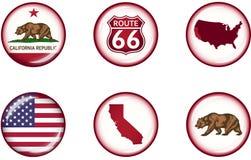 Sistema brillante del icono de California Fotos de archivo libres de regalías