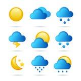 Sistema brillante del icono del tiempo Ilustración del vector Símbolo de la meteorología libre illustration