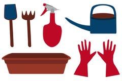 Sistema brillante del jardín: pala, rastrillo, regadera, regadera, guantes y bandeja de la planta, vector Imagen de archivo