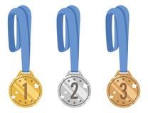 Sistema brillante del vector de plata y de bronce de las medallas del oro, premio para la victoria con una cinta azul Iconos aisl Imagen de archivo libre de regalías