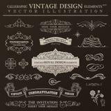 Sistema caligráfico del vintage de los elementos del diseño Marcos del ornamento del vector Fotos de archivo libres de regalías