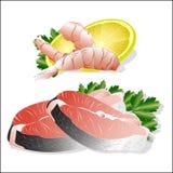 Sistema, camarones y salmones de los pescados Imagen de archivo libre de regalías