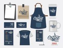 Sistema, camiseta, menú, namecard y f del restaurante del café del café del vector stock de ilustración