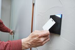 Sistema chave eletrônico do acesso da porta Imagens de Stock
