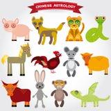 Sistema chino de la astrología de animales divertidos en un fondo blanco Imagen de archivo libre de regalías