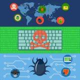 Sistema cibernético del concepto de la bandera del mundo del ataque, estilo plano libre illustration
