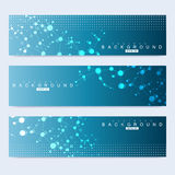 Sistema científico de banderas modernas del vector Estructura de la molécula de la DNA con las líneas y los puntos conectados Fon Fotos de archivo