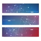 Sistema científico de banderas modernas del vector Estructura de la molécula de la DNA con las líneas y los puntos conectados Fon Imagen de archivo