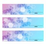 Sistema científico de banderas modernas del vector Estructura de la molécula de la DNA con las líneas y los puntos conectados Fon Fotos de archivo libres de regalías