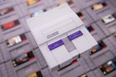 Sistema clásico del Super Nintendo de Nintendo imagenes de archivo