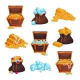 Sistema coloreado con los pechos y los bolsos llenos de tesoros, pilas de barras de oro, monedas y diamantes o stock de ilustración