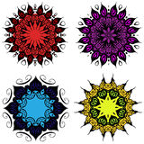Sistema coloreado de cuatro mandalas Imagen de archivo libre de regalías