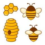 Sistema coloreado de la miel Abejas, panales, colmena Vector stock de ilustración