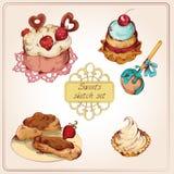 Sistema coloreado de los dulces Foto de archivo