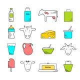 Sistema coloreado de los iconos de la lechería libre illustration