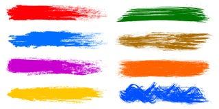 Sistema coloreado de pintura, movimientos del cepillo stock de ilustración