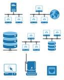 Sistema del icono de la red de ordenadores Imagen de archivo libre de regalías