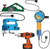 Sistema coloreado del vector de herramientas eléctricas con los alambres Imagen de archivo libre de regalías