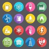 Sistema coloreado plano del icono de la energía Imágenes de archivo libres de regalías
