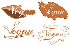 Sistema colorido aislado de la etiqueta del vegano Fotografía de archivo libre de regalías