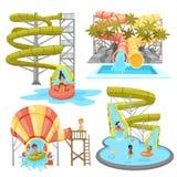 Sistema colorido de Aquapark Fotografía de archivo