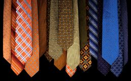 Sistema colorido de corbatas fotografía de archivo libre de regalías