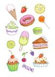 Sistema colorido de diversos postres, tortas y dulces Foto de archivo libre de regalías
