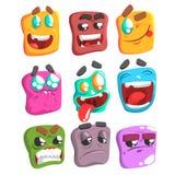 Sistema colorido de Emoji de la cara cuadrada stock de ilustración