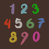 Sistema colorido de escritura de la mano de los números Foto de archivo libre de regalías