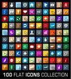Sistema colorido de 100 iconos modernos del plano universal Foto de archivo