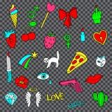 Sistema colorido de insignias del remiendo de la moda del garabato Foto de archivo libre de regalías