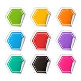 Sistema colorido de la etiqueta engomada del polígono realista del vector Imágenes de archivo libres de regalías