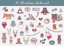 Sistema colorido de la etiqueta engomada de la Navidad y del invierno ilustración del vector