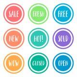 Sistema colorido de la insignia de venta del círculo plano de la promoción Imágenes de archivo libres de regalías