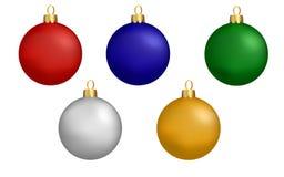 Sistema colorido de la Navidad de bolas Imágenes de archivo libres de regalías