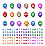 Sistema colorido de la ubicación, de los lugares, del viaje y del destino Pin Icons Imagen de archivo