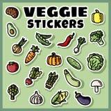 Sistema colorido de las etiquetas engomadas de las verduras Colección de etiquetas planas del veggie ilustración del vector