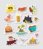 Sistema colorido de las etiquetas engomadas y de etiquetas de la historieta del verano stock de ilustración