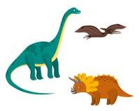 Sistema colorido de los dinosaurios de la historieta linda stock de ilustración