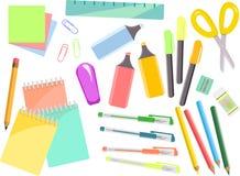 Sistema colorido de los efectos de escritorio, artículos para la escuela y oficina stock de ilustración